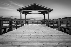 Pier at Lake Graham (Elizabeth_211) Tags: sky blackandwhite bw lake pier tennessee symmetry 6d jacksontn 24105mm lakegraham westtn sherielizabeth