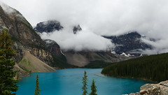 Clouds at Lake Moraine, Banff National Park (synaesthesia24) Tags: summer panorama lake canada mountains nature clouds landscape alberta banff banffnationalpark lakemoraine rockflour glacialflour