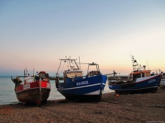 Summer evening in Hastings (Steve Denny) Tags: summer sky beach boats seaside fishermen bluesky hastings fishingboats eastsussex englishsummer canonpowershotg10 stephenmichaeldenny