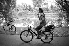 Ice Cream (siraf72) Tags: leica summer woman ice bicycle germany cream nohands m9 seligenstadt 2015