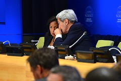 Secretary Kerry Chats With Ambassador Rice at the Leaders' Summit to Counter ISIL and Violent Extremism at UN Headquarters in New York City (U.S. Department of State) Tags: newyorkcity un unitednations johnkerry unga susanrice unga70 unga2015