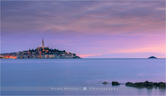 Sunset in Rovinj - Croatia (~ Floydian ~ ) Tags: old city longexposure sunset canon photography evening town view dusk croatia le bluehour colourful peninsula rovinj adriaticsea istrian istrie floydian canoneos1dsmarkiii henkmeijer