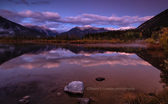 Dawn At Vermillion Lake, Canada (chasingthelight10) Tags: travel mist canada photography landscapes events places things banffnationalpark canadianrockies vermilionlake