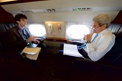 Secretary Kerry Speaks With Speechwriter Imbrie During Flight to Deliver Herzog Speech at U.N. Commemoration in New York (U.S. Department of State) Tags: johnkerry andrewsairforcebase campspringsmd andrewimbrie