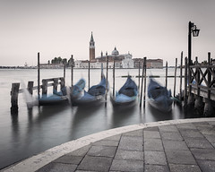 Four Gondolas (Vesa Pihanurmi) Tags: street longexposure morning venice seascape church dawn sticks harbour jetty poles venezia gondolas sanmarco waterscape sangiorgiomagggiore