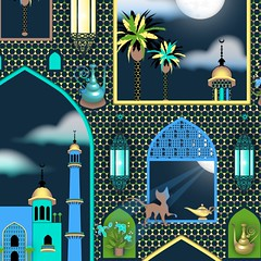 Full_Moon_Preview_zoom (vannina_sf) Tags: windows light cloud moon lamp night cat persian pattern mosaic palace lantern aladdin islamic arabiannights onethousandandonenights