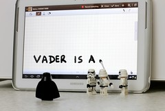 Uh-oh! (Skyline:)) Tags: starwars darth vader lego minifigures minifigure samsung tablet 101 note white black fun funny smile humor humour lol words letter letters