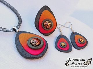 Polymer clay necklace, earrings and ring