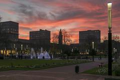P1070168 - Red sunset in Le Havre France (Rolye) Tags: sunset france buildings tour coucherdesoleil luminaire lehavre jetsdeaux