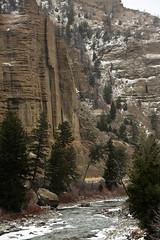 Winter Comes To The Palisades (wyojones) Tags: road snow river canyon snowing wyoming np cody northfork palisades volcanicrock shoshonenationalforest yellowstonehighway eastentranceroad absorokamountains wyojones northforkoftheshoshoneriver northforkcanyon absorokavolcanics