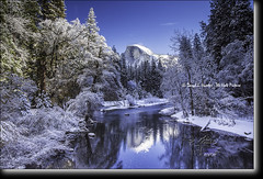 New  Snow, Yosemite (Daryl L. Hunter - Hole Picture Photo Safaris) Tags: winter usa reflection unitedstates bluesky yosemite halfdome yosemitenationalpark yosemitevalley mercedriver newsnow