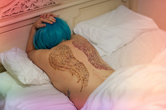 140.366 Pain (HelenHates Peas) Tags: selfportrait me tattoo self pain bed selfie whitebed scarswoundswigbluehair