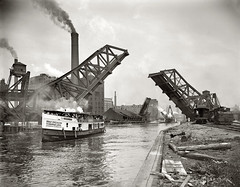 Hey, who WOULDN'T want to take an excursion to the Drainage Canal? The daily excursion boat carrying passengers on the Chicago River under the 12st Street bascule Bridge. Factories, smokestacks and railroads. Chicago. Circa 1900. (wavz13) Tags: vintagephotographs vintagephotos vintagephotography filmphotos filmphotography historicphotographs historicphotos historicphotography oldchicago vintagechicago chicagophotography oldchicagophotography oldchicagophotos vintagechicagophotos vintagechicagophotography oldboats vintageboats antiqueboats railroadbridges oldrailroadbridges vintagerailroadbridges vintagerailroads oldrailroads antiquerailroads chicagohistory vintageindustry oldindustry vintageindustrial oldindustrial vintagefactory oldfactory vintagefactories oldfactories vintagerailroad oldrailroad vintagephoto oldphotos oldphoto oldphotography dystopia dystopic abandonedplaces bleak barren oldbuilding oldbuildings vintagebuilding vintagebuildings airpollution smoke vintageclothes antiqueclothes strawhats antiquephotos antiquephotography chicagocanal industrial industrialwaste industrialcanal chicagosanitaryandshipcanal