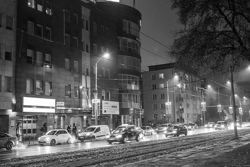Street Stettin night december.