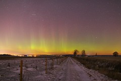 """The Road (6): the Arctic Aurora"" Sättuna Linköping Sweden, 6 Jan-2017 (IMG5850Afl) (Johan Kleventoft) Tags: snow winter sättunalinköping sättuna linköping sweden road fence trees nightshot johankleventoft östergötland naturreservat naturereserve svartåmynningensnaturskyddsområde natrurskyddsområde moln clouds stars auroraborealis aurora norrsken northernlight winterlandscape green orange purple grass"