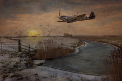 Spitfire over Kent (brian_stoddart) Tags: aircraft spitfire countryside sunset winter snow flying vintage