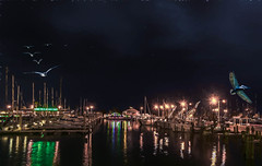 The Docks at Night (Jims_photos) Tags: water texas topazlabssoftware topazlabs topazsoftware texascoast yacht outdoor outside ocean adobelightroom adobephotoshop slidersunday sailboats docks fishingboat gulfofmexico jimallen lightroom cloudy clouds coastalscene corpuschristitexas boats nopeople nikon7100 nightphotos nightshot nightimages