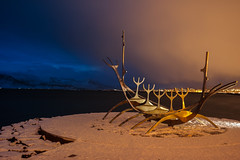 Sunset vs snow cloud (cromgrze) Tags: iceland viking ship sculpture reykyavik art outdoor sunset snow cloud