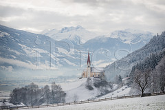 Church in alpine Zillertal valley in winter (iPics Photography) Tags: zillertal church winter snow austria fuegen fã¼gen alps landscape nature alpine fugen fog kaltenbach zellamziller view zillertalarena valley ziller austrian mountain ski resort pankraz