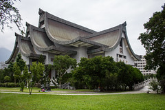 Jing Si Hall, Hualien (2016) (kinlonfan) Tags: temple roofs roof gray grass plants clear clean calm jing si hall hualien taiwan tzu chi buildings photography