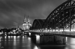 Cologne (stein.anthony) Tags: bw sw nachtaufnahme nightview langzeitbelichtung longexposure cityscape cityhighlight köln cologne monochrom dom cathedral brücke hohenzollernbrücke