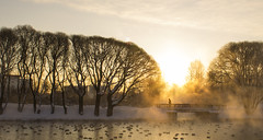 Cold morning in city park (Apercoat) Tags: cold morning sunrise park winter snow water lake pond pool sky man human silhouette shadowgraph
