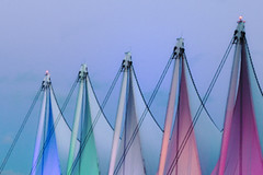 Pastel Sails, Vancouver, BC (gks18) Tags: canon vancouver sails pastel canadaplace architecture