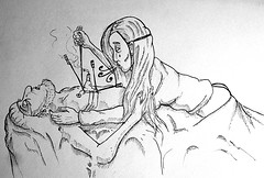 Tu m'as enlevé mon dernier espoir... (ETt_) Tags: sketch down hope lost love pain ink drawing girl hearth destroyed