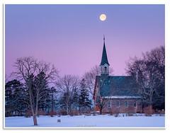 Memorial Church and Moon (Fundy Rocks) Tags: novascotia acadian nikon snowmoon memorialchurch twilight snow grandpré grandprénationalhistoricsite unesco winter beltofvenus moonset moon pink magenta annapolisvalley kingscounty