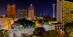 San Antonio, Texas (mudpig) Tags: park longexposure panorama sculpture building night sanantonio hotel cityscape texas steve kelley hdr riverwalk towerofamericas traffictrails lightstream mudpig stevekelley stevenkelley