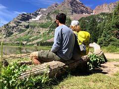 better together (ashleyweber) Tags: lake mountains bells colorado hiking maroon backpacking aspen jaunt