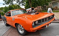1971 Plymouth 'Cuda (Chad Horwedel) Tags: orange classic car illinois plymouth cuda barracuda supercharger plainfield plymouthcuda 1971plymouthcuda plainfieldcruisenights