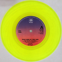 Real Thing - Boogie Down (Get Funky Now) (Leo Reynolds) Tags: xleol30x squaredcircle 45rpm record single yellow colour coloured vinyl platter disc 7inch sqset120 canon eos 40d xx2015xx sqset