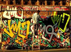 Man at work (Draopsnai) Tags: urban streetart man london painting graffiti mural artist ladder spitalfields towerhamlets