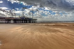 Windy beach HDR (StefanKoeder) Tags: uk england beach strand pier sand blackpool hdr