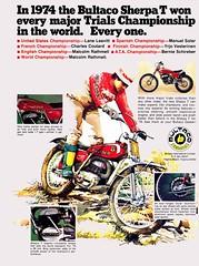 1974 Bultaco sherpa (Rickster G) Tags: two ads flyer spain 60s desert offroad stroke x literature astro trail spanish moto 70s 100 dirtbike 370 sales brochure motocross frontera 250 twostroke enduro dealer motox 125 scrambler stroker elbandido bultaco pursang twinshock montadero