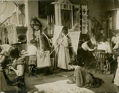 Making banners for a Women's Social & Political Union (WSPU) rally, 1910.