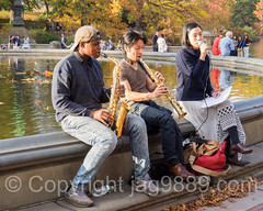 Musical Trio, Central Park, New York City (jag9889) Tags: park nyc newyorkcity autumn music usa ny newyork fall fountain colors landscape unitedstates outdoor centralpark manhattan unitedstatesofamerica performance landmark player foliage saxaphone singer cp bethesdafountain nycparks trompete 2015 jag9889 20151106