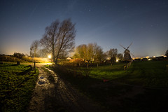 Windmill in Northern Germany (jogi.sch) Tags: longexposure sea sky tree nature windmill grass night canon germany stars eos outdoor feld himmel baltic fisheye landschaft ahrenshoop lightroom longtimeexposure canon6d walimexpro12mm