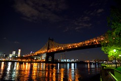 Queensboro Bridge at night (grumpyff) Tags: city nyc newyorkcity urban ny newyork reflection skyline night dark eastriver queensborobridge rooseveltisland cityofnewyork blackwellsisland welfareisland 59streetbridge