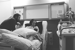 348/366 (moke076) Tags: 2016 365 366 project366 project 365project project365 oneaday photoaday couple new parents bw hospital room laboranddelivery baby newborn birthday husband wife mother father mom dad bed laying down family portrait first friends candid nikon d7000