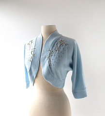 1950s Pussywillow beaded bolero cardigan, from Brownie Knitting Mills (Small Earth Vintage) Tags: smallearthvintage vintagefashion vintageclothing sweater cardigan 1950s 50s paleblue pussywillows beadedsweater bolero brownieknittingmills