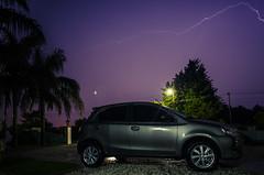 Etios in the storm (Ruby MV) Tags: toyota car etios longexposure nite rain ray storm