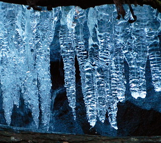 Icicles along side Waterfall
