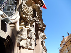 Decorative lions, 2016 Aug 27 (Dunnock_D) Tags: czechia czechrepublic prague blue sky nerudova decorative decoration czech flag building buildings wall exterior outside relief malástrana lessertown