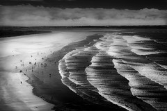 Devon (Scott Baldock) Tags: saunton sands devon uk beach waves seaside mono bw low key mood atmosphere