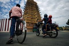 Nallur Kandaswamy (alisdair jones) Tags: superelmarm13421asph people street bicycle scooter stripes sky clouds scaffold hindu temple nallur kandaswamy jaffna srilanka leica m240