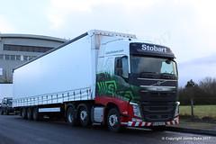 Eddie Stobart H4498 - KX16FDZ - AURORE - Westbury 27.02.17 (3) (JD-22) Tags: volvo fh mercedes actros williams f1 merc formula 1 rt trailer new