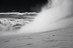 descending and covering (robra shotography []O]) Tags: fuji cloud bw clouds monochrome snow diagonal winter fog misty