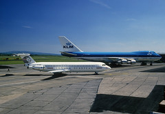YR-BRF ROMBAC 1-11 561RC London Europen & PH-BUC B747-206B  KLM (n707pm) Tags: yrbrf phbuc rombac111 b747 boeing 747 jumbo klm londoneuropean 071987 airport aircraft airline airplane einn snn coclare ireland rineanna scanfromaslide shannonairport cn19924 cn406